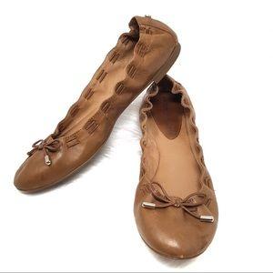 Antonio Melani Muranda Brown Leather Bow Flats 8M